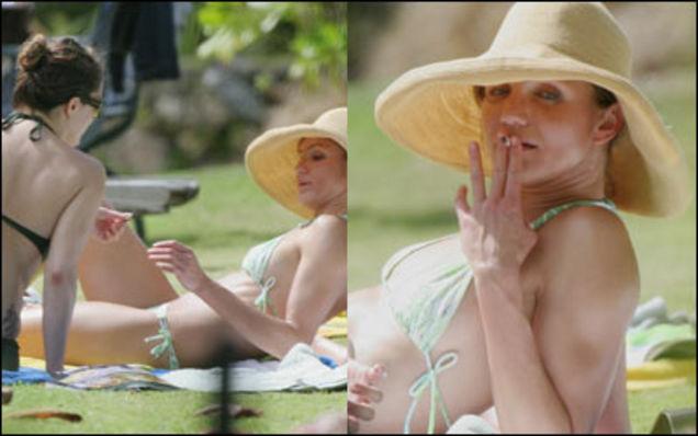 Cameron Diaz smoking pot in the park. Celebrities smoking weed.