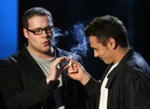 James Franco smoking weed at 2008 MTV Awards Show. Celebrities smoking Marijuana.