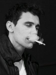 James Franco smoking weed in a black leather jacket. Celebrities smoking Marijuana.