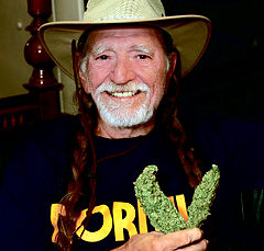 Willie Nelson promotes pot. Celebrities smoking weed.