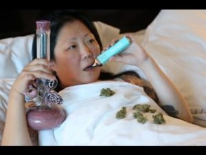 Margaret Cho smoking weed, Cho-G OG Kush Marijuana.